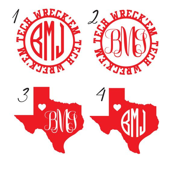 Texas Tech Monogram Decals By Tiacheriedesigns On Etsy
