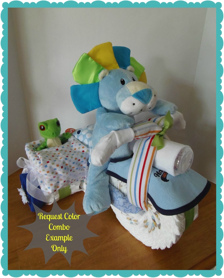 Diaper Motorcycle With Side Car Baby Shower Gift Centerpiece Boy Via