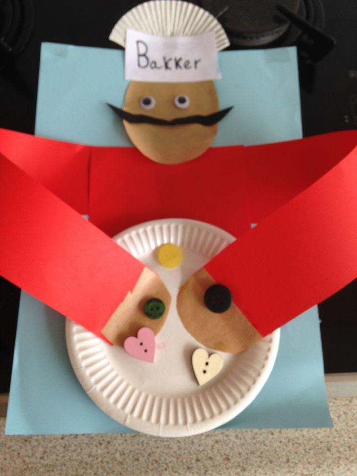Mini-bakker. Muts = halve cupcake vormpje, snor = zwart papier, rood papier buik/armen, bordje, diverse knopen, oogjes, enzovoort. Invulling naar eigen keuze..
