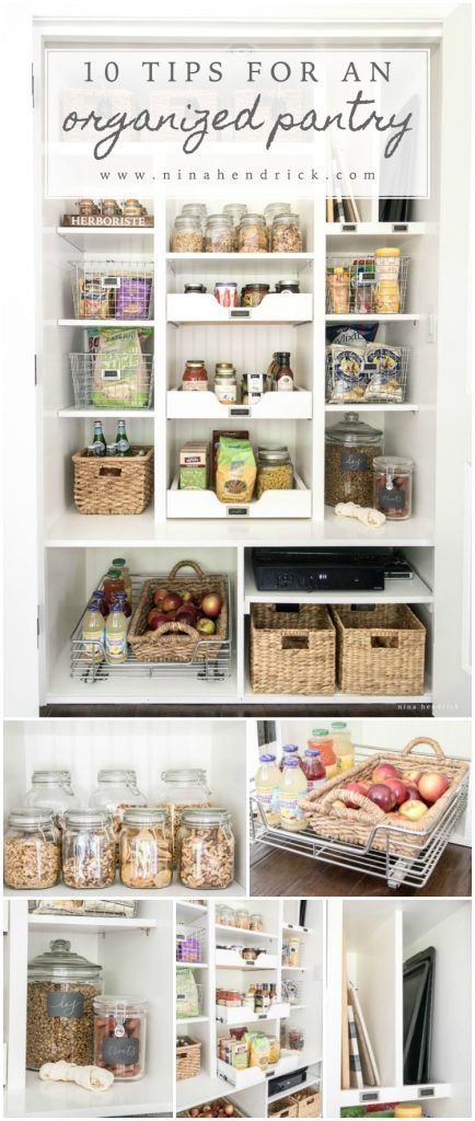 10 Tips for an Organized Pantry   Create an organized pantry with these 10 tips on making the most of your food storage space from @nina_hendrick!