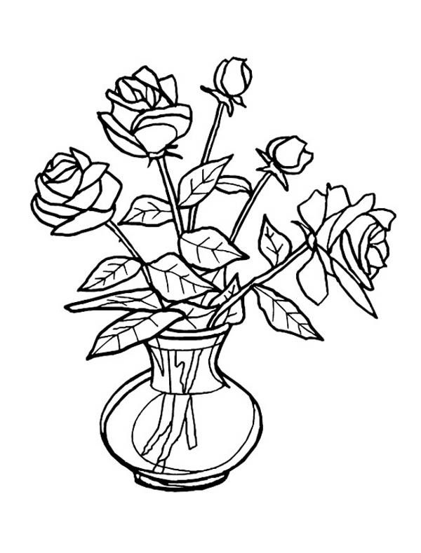 fresh roses for flower bouquet coloring page fresh roses for flower bouquet coloring page