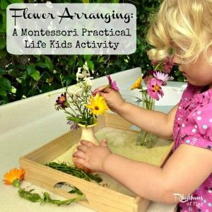 Flower arranging -- A Montessori practical life kids activity that you can do at home.