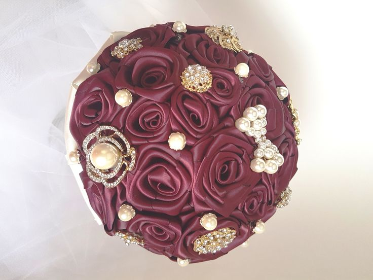 """Wine Burgundy Brooch Bouquet, Wedding Bouquet.  Bride, Bridesmaid Bouquet. Wine Burgundy handmade satin ribbon roses with cream stem. Gold tone brooches and pearl accents. 8"""" bouquet."""