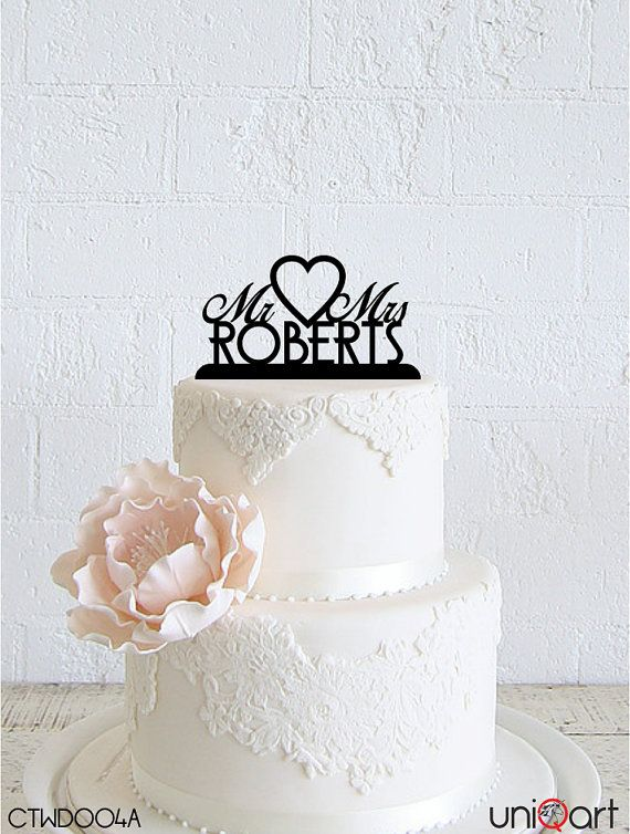 Mr & Mrs Personalized Wedding Cake Topper, Customizable Lastname, Removable Stakes, Free Base for After Event, Gift, Keepsake CTWD004A