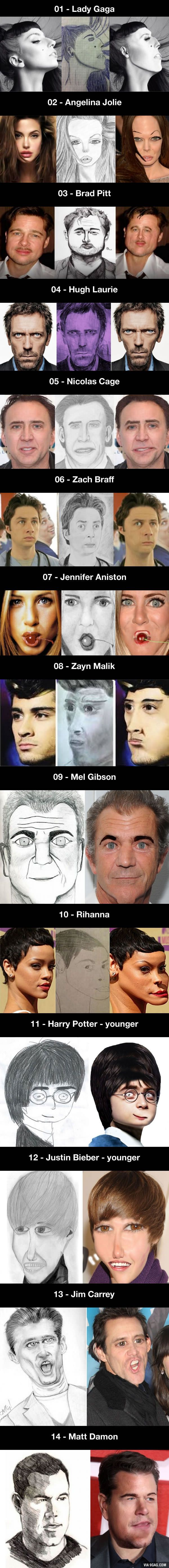 14 pictures of celebrities photoshopped to match fan art sketches (sorry for the nightmares)