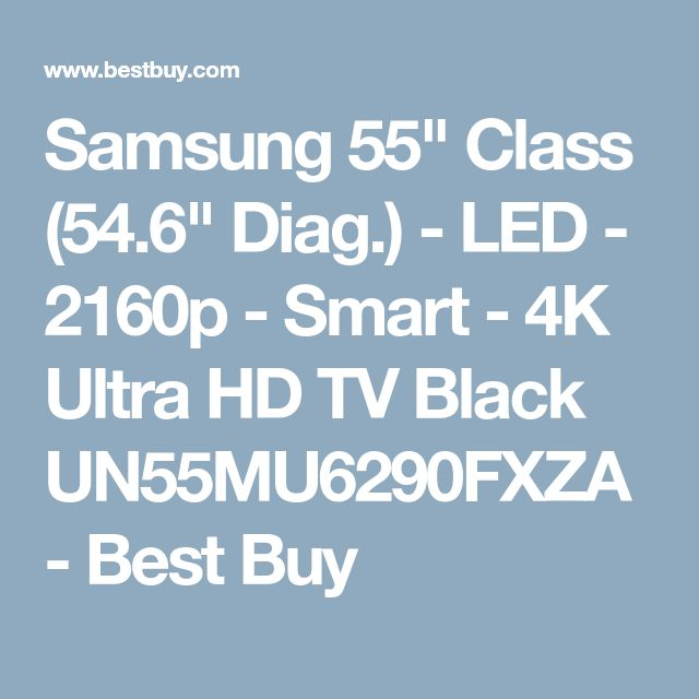 "Samsung 55"" Class (54.6"" Diag.) - LED - 2160p - Smart - 4K Ultra HD TV Black UN55MU6290FXZA - Best Buy"