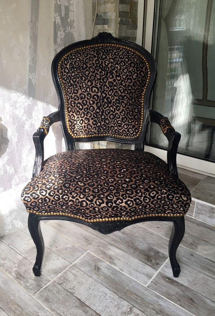Fauteuil Cabriolet bergère Léopard noir tissu Luxe Baroque Shabby Chic : Meubles et rangements par monautrefois