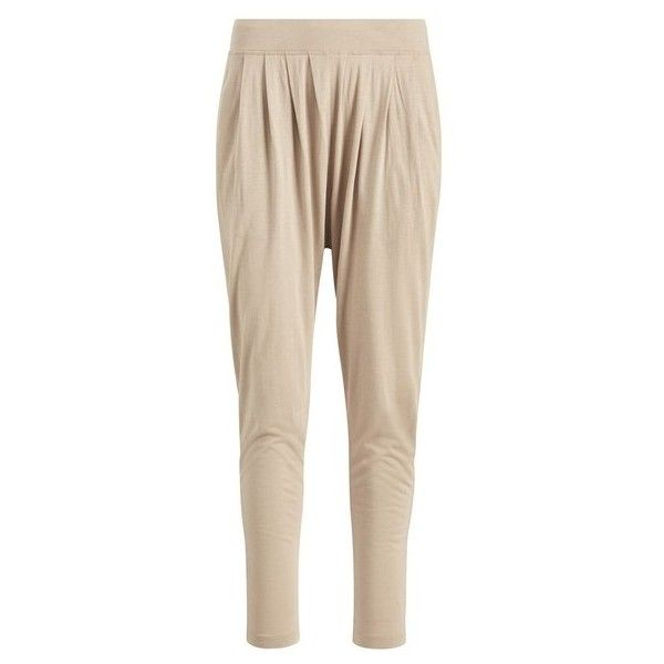 Polo Ralph Lauren Stretch Jersey Harem Pant ($99) ❤ liked on Polyvore featuring pants, brown, lounge, polo pants, stretch waist pants, mid rise pants, harem pants and pink harem pants