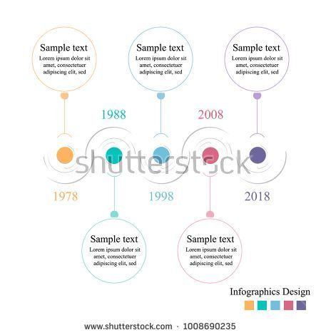 Infographics Timeline Template With Horizontal Colorful Circles For 5 Steps Can Be Used Workflow