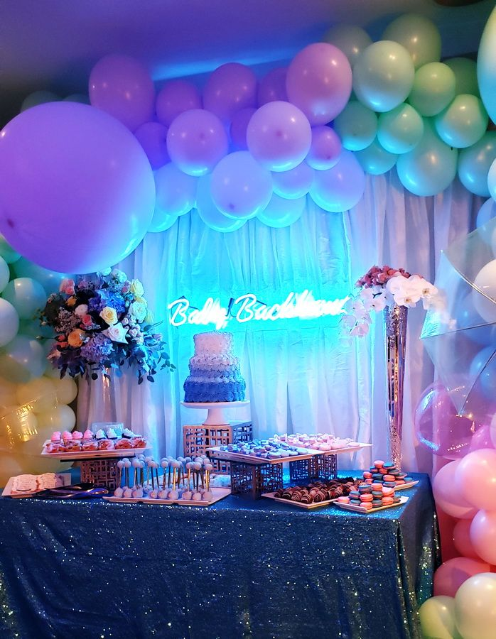 Gender Reveal Party Decoration Idea With Organic Balloons And Flowers Cake Table D Special Events Decor Cake Table Decorations Gender Reveal Party Decorations