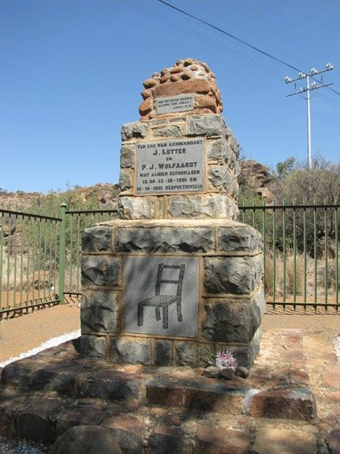 """Stoel Monument near Middelburg in Eastern Cape, South Africa (created by nelcoe) - One of the top commandants in the Cape, Johannes LÖTTER was known for his daring """"hit and run"""" tactics. On 12 October 1901 LÖTTER was taken to a spot next to the Richmond Road where he was tied to a chair and shot. He was buried there and this is where the """"Stoel Monument"""" still stands."""