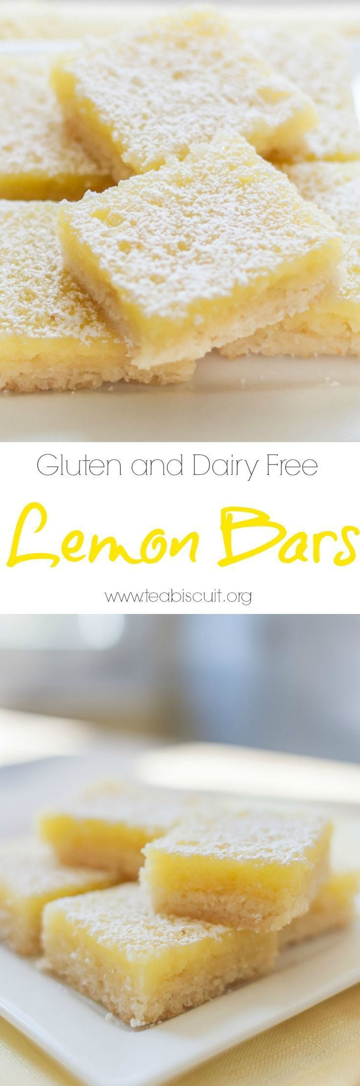 Gluten and Dairy Free Lemon Bars with the best shortbread base ever!  visit teabiscuit.org for more gluten free recipes