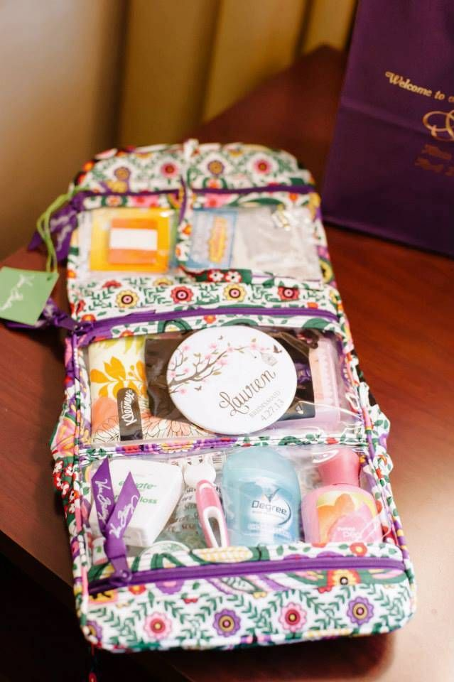 """The bride chose the best and most useful bridesmaids' gifts (Vera Bradley bags filled with things we may need on the big day, pictured below) and the cutest bridesmaids' robes"""