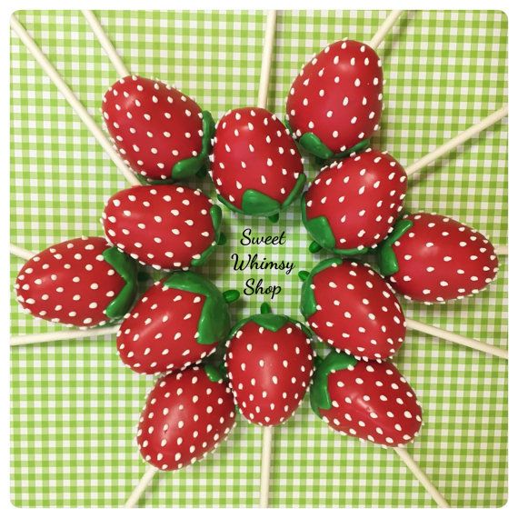 12 Cute Strawberry Cake Pops for Strawberry by SweetWhimsyShop