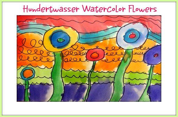 Hundertwasser watercolour flowers - Deep Space Sparkle lesson. Love Deep Space Sparkle