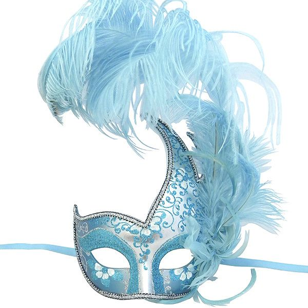 blue Masquerade Masks for Women with feathers | Sky blue and silver Swan feathered venetian masquerade mask