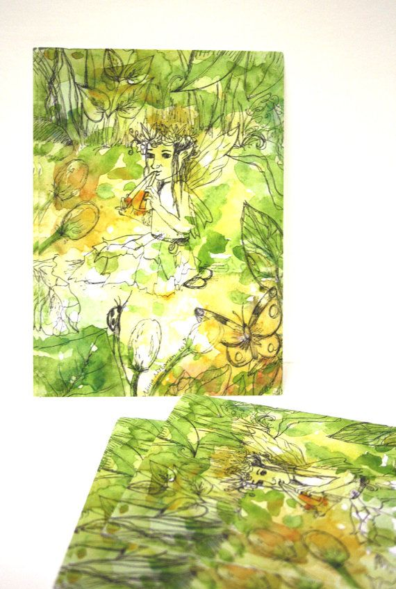 Set of 10 Postcards - Summer Fairy - Magical Music - Card Sets - blank cards - by Niina Niskanen