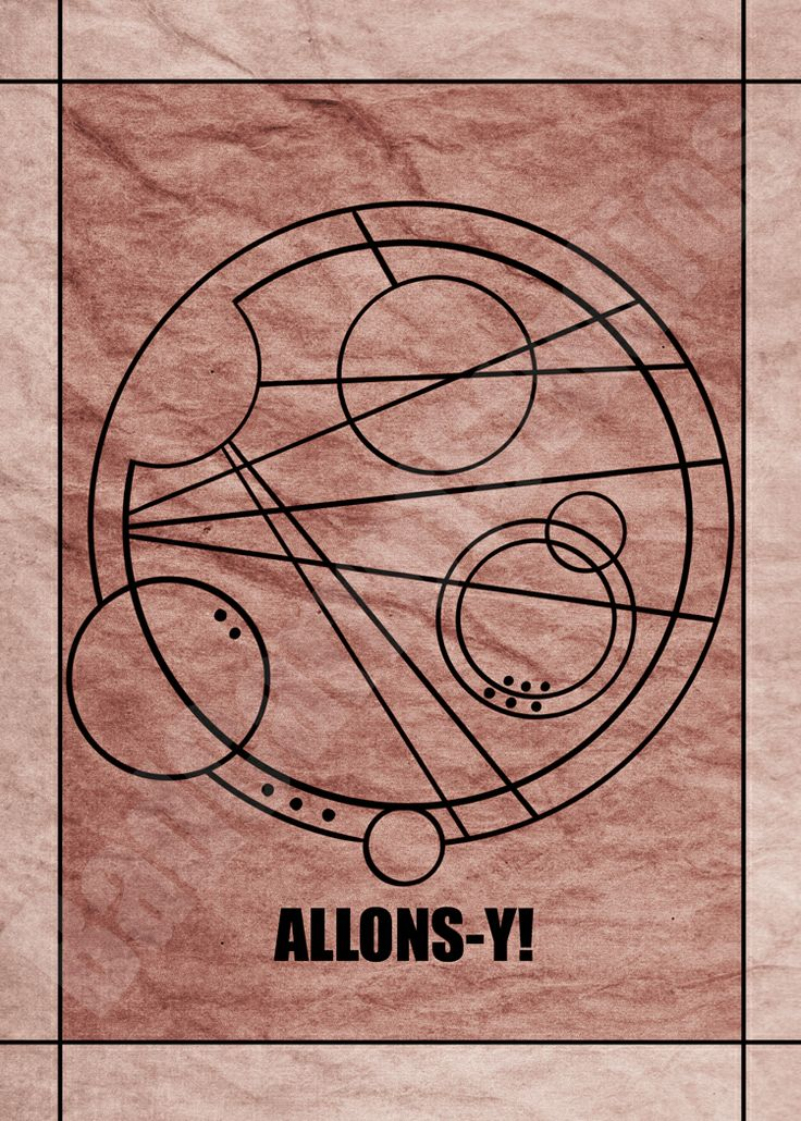 """The word """"Allons-y!"""" in Gallifreyan from the BBC TV show Doctor Who; art print available through Bad Carrot Studios Etsy store! Available in standard photo frame size: 5x7 Professionally made on glossy photo paper, and not from home printers.(watermark does not appear on artwork)"""