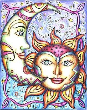 Celestial Sun Face and Crescent Moon - by artist Gretchen Reisch - (sun, moon, stars, art, illustration)
