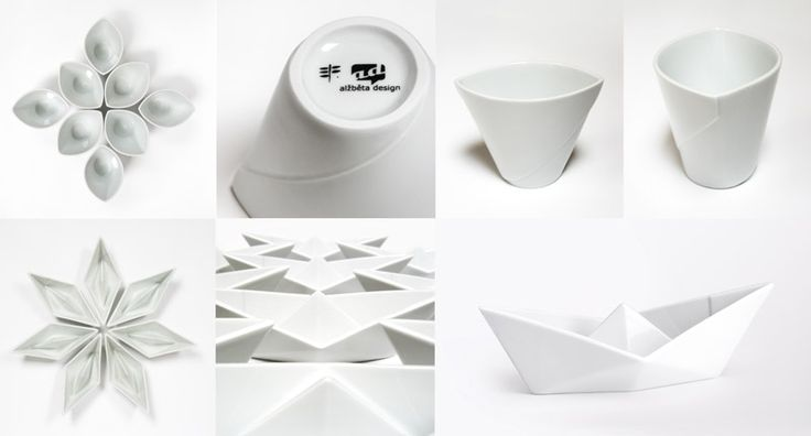 This porcelain is inspired by simple paper origami, which symbolizes playfulness and brings us back in time to our childhood. It is made of porcelain, which helps to materialize the idea with cleanliness and elegance.