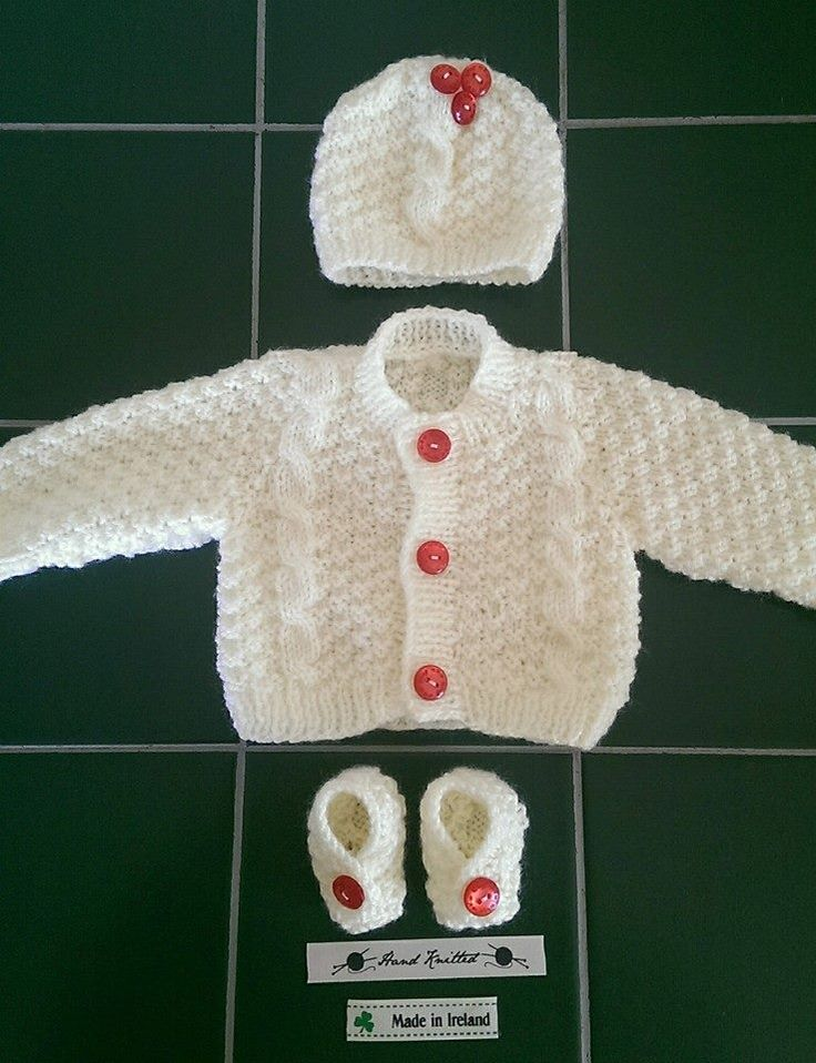 Cable knit hand made baby outfit