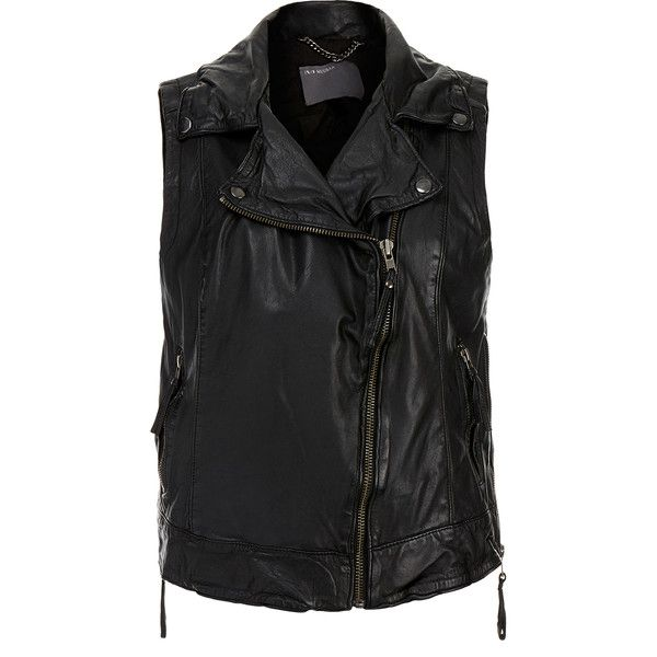 Muubaa Cassidy Black Leather Gilet (£169) ❤ liked on Polyvore featuring outerwear, vests, black, biker vest, leather vest, muubaa, leather waistcoat and black vest