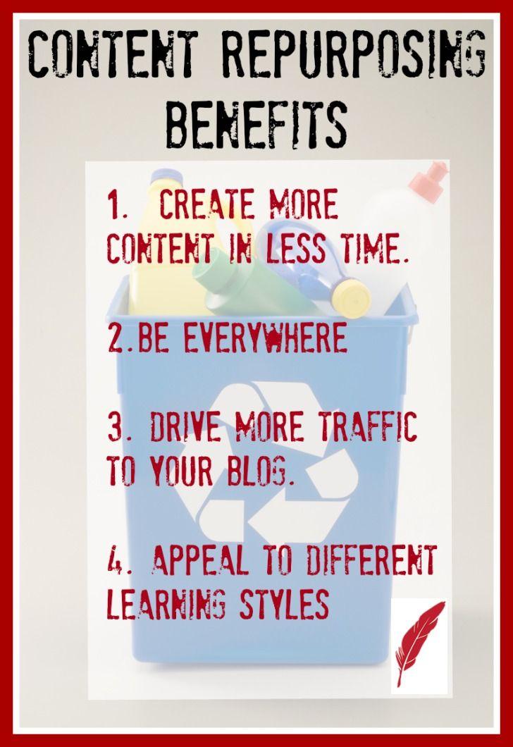 Content repurposing has many benefits. Here are just some of the benefits of repurposing content. http://professionalcontentcreation.com/benefits-content-repurposing