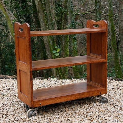 Oak library trolley c1920