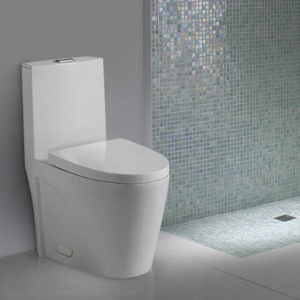 Making A Strong Contemporary Statement The Slim Tank Of This Nevelle Elongated One Piece Toilet Drops Seamlessly In One Piece Toilets Toilet Wall Hung Toilet