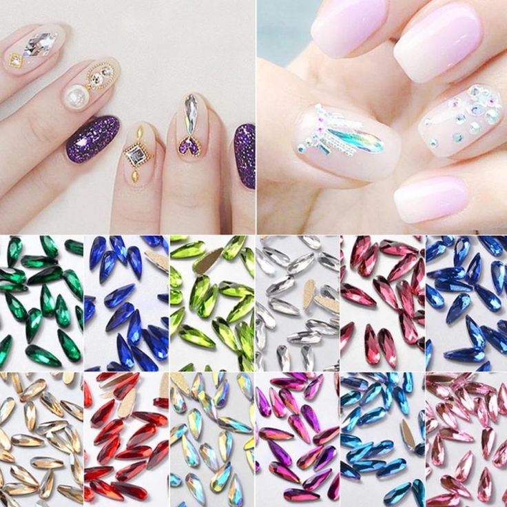 30Pcs/Pack Nail Art Rhinestones Flat Shaped Elongated Teardrop Rectangle Glass Flame Colorful Stones For 3D Nails Decoration ye2 #Affiliate