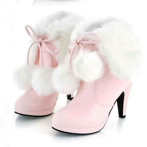 486107ac252717 Ericdress Sweet Furry Tassels High Heel Boots