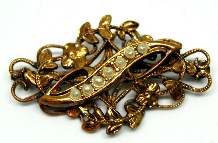 Брошь Душистый горошек, жемчуг, Gold Filled, к 19 - н 20 вв.
