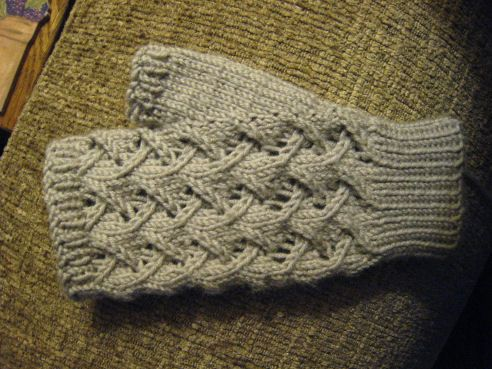 These mitts fit an average ladies' hand size. The size can be adjusted by playing around with the gauge. The easy all-over lace pattern and DK weight yarn will give you a lovely pair of mitts that's fairly quick to knit. Make a pair for a gift, and one for yourself!