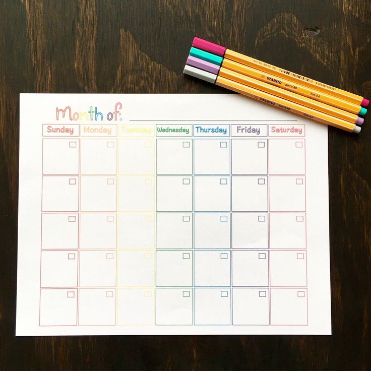 Printable Monthly Calendar Planner **** Rainbow Outline Theme - PDF by RunsOnBlackCoffee on Etsy https://www.etsy.com/listing/285686405/printable-monthly-calendar-planner