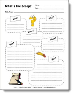 """Corkboard Connections: Create Easy Online Classroom Magazines! Use this """"What's the Scoop?"""" graphic organizer for students to plan their articles."""