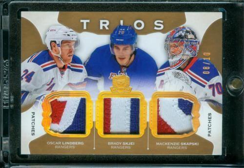 8/10 Brady Skjei RC Lindberg Skapski 2015-16 UD The Cup Trios Patch Rangers