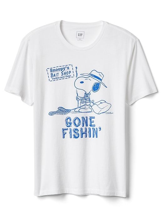 Gap Mens Short Sleeve Graphic Tee Peanuts Gone Fishin