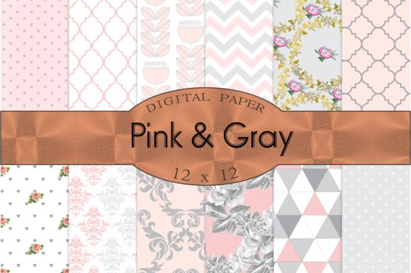 Pink and Gray digital paper by Kiwi Fruit Punch on @creativemarket