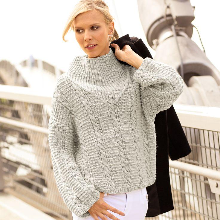 Светло-серый свитер с «косами» и резинкой