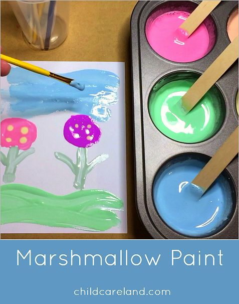 Marshmallow Paint Art Center Activity ... everyone loved making and painting with this today.