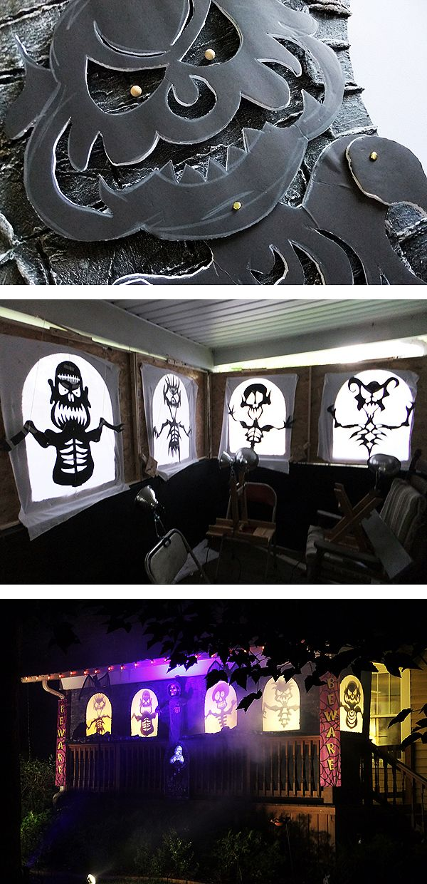 Scott Stoll, an accomplished Halloween display designer, turned his talent to his front porch and a new way of making his Halloween magic with animated monster shadow puppets. Learn how he created this amazing Halloween display on The Home Depot Blog.