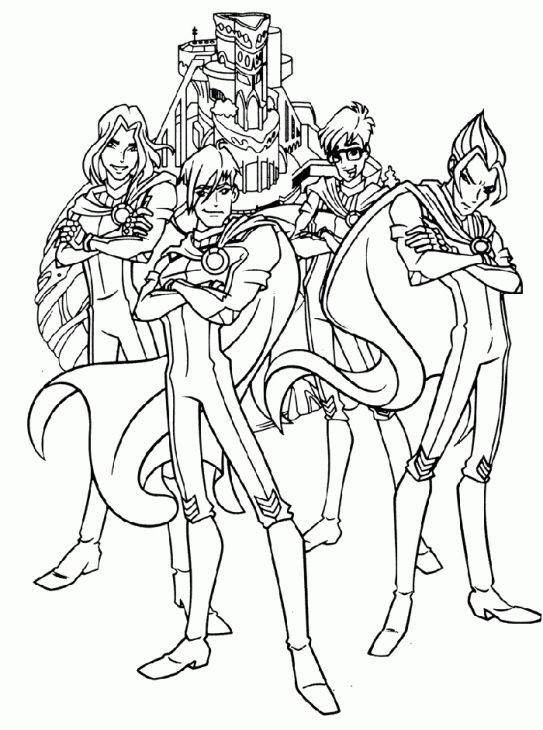the boys from winx club free printable coloring picture