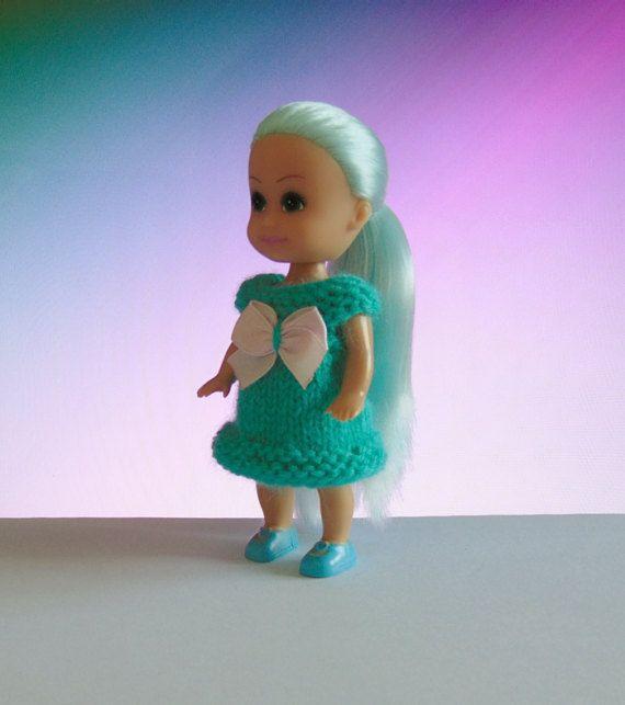 Miniature doll dress turquoise doll dress by CrochetKnitt on Etsy