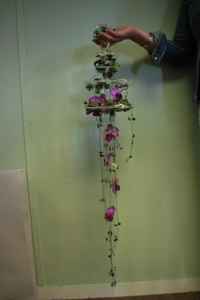 Perspex cascading bouquet for the RHS Chelsea florist of the year heat 2012