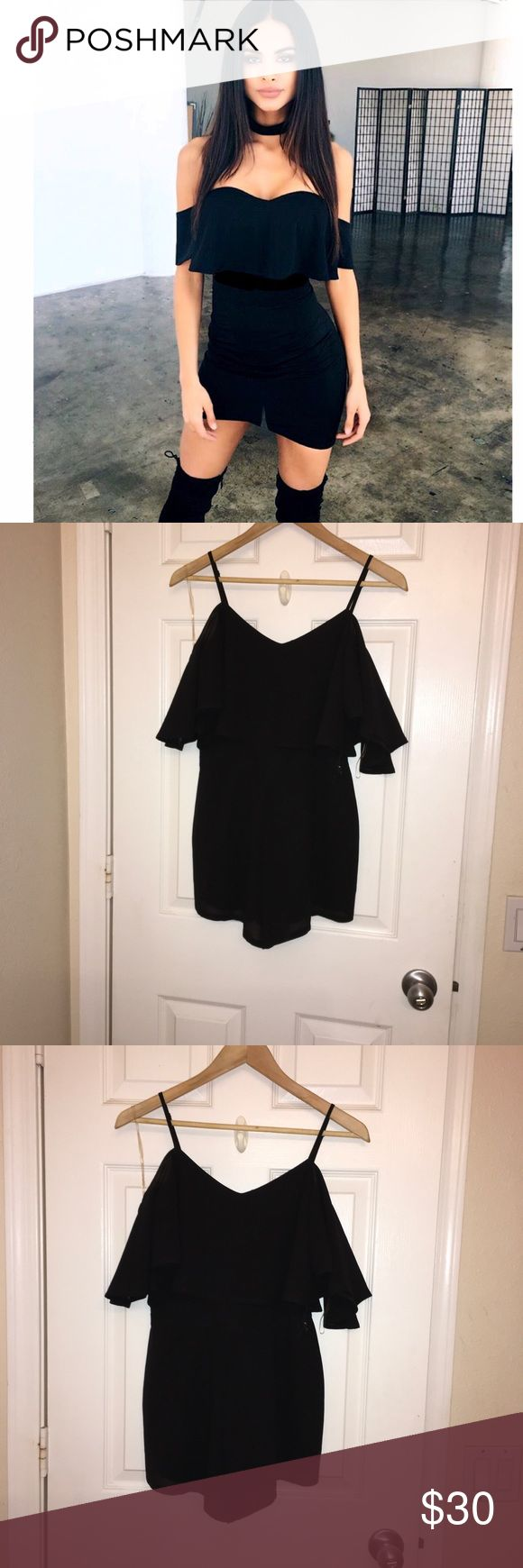 💘 Off Shoulder Black Romper 💘 Off Shoulder Black Romper Size small  Flowey, sleek, sheer material, semi stretchy, adjustable straps.  Sweetheart neckline, loose flow bottom, sleeveless, off the shoulder, romper shorts.  Perfect new condition. Very comfortable & sexy. Easy to dress up or down Tilly's Dresses Mini