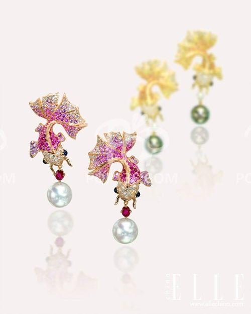 Fish earrings by Anna Hu