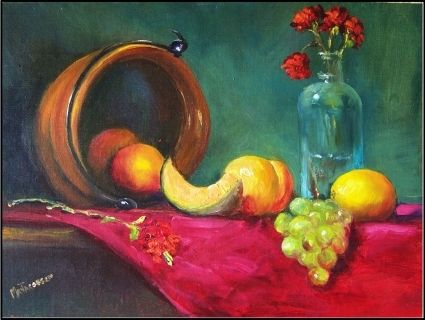A Copper Pot, fruit and a Dusty Bottle, painting by artist Maryanne Jacobsen