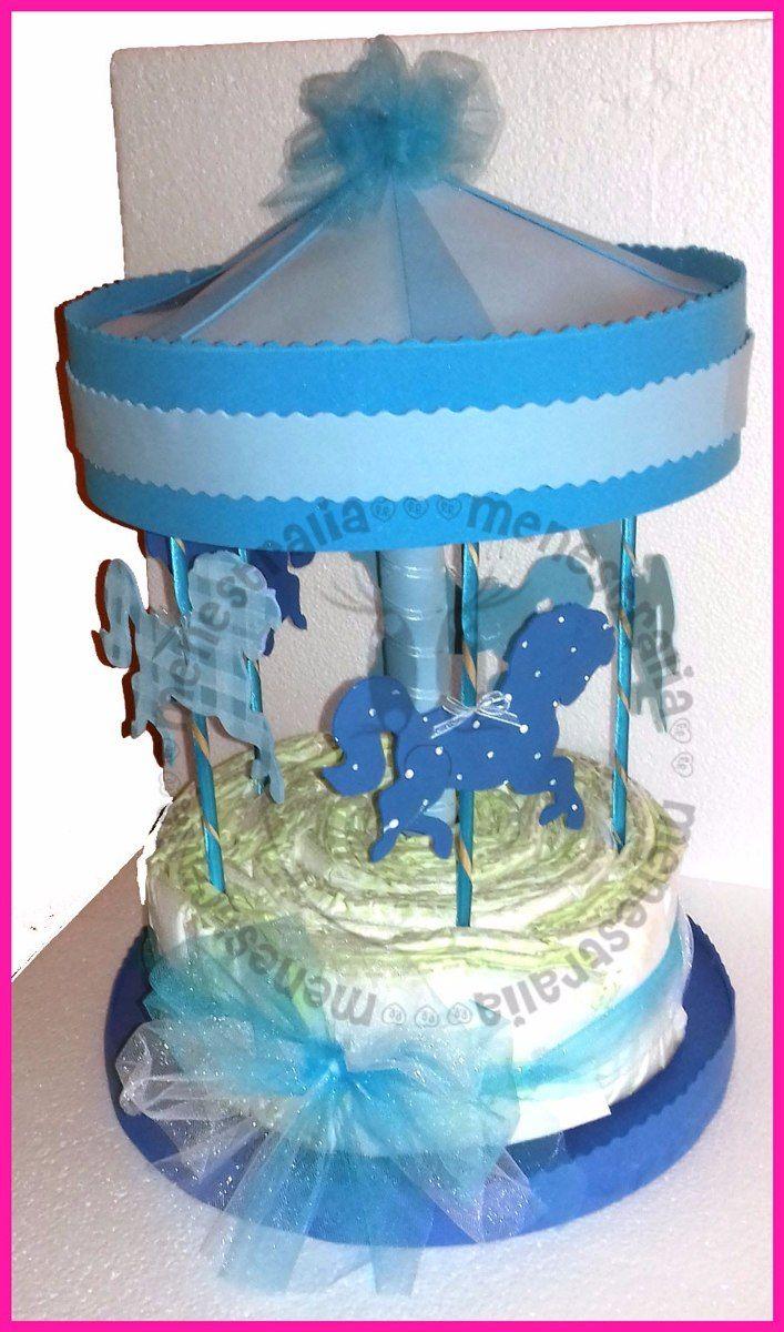 baby sower de carrusel | Carrusel Pañales Baby Shower Centro De Mesa Recuerdo - $ 200.00 en ...