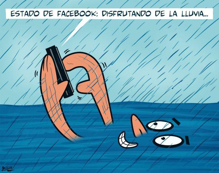 Estado de Facebook: disfrutando de la lluvia. #humor #risa #graciosas #chistosas #divertidas
