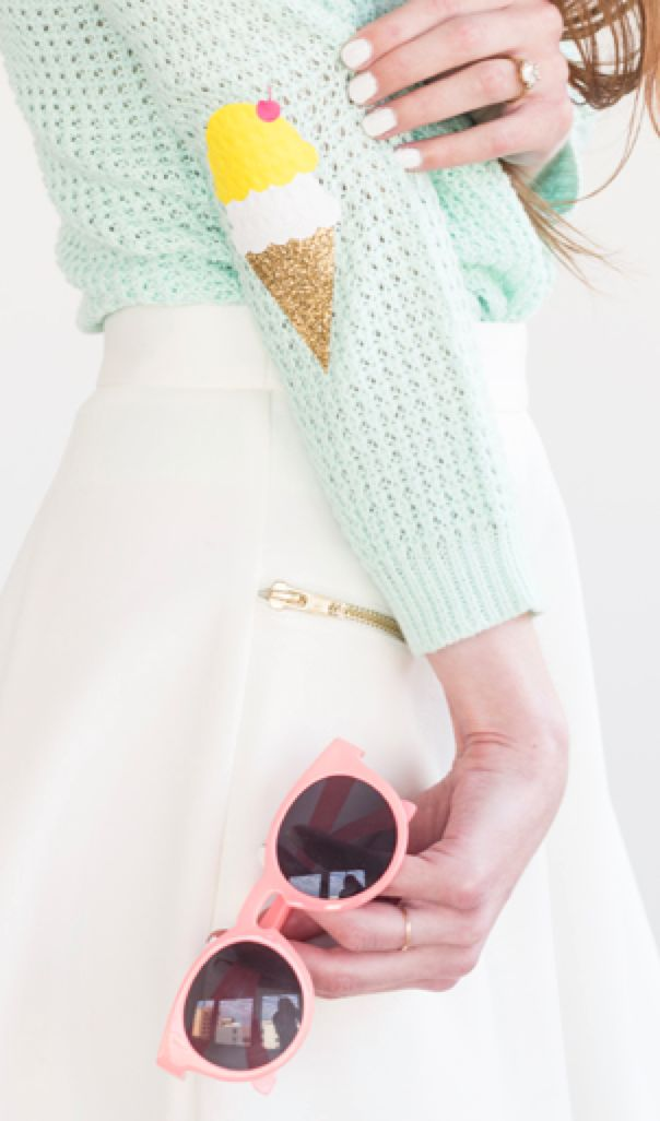 I've always thought leather elbow patches were the only way to go. This is too cute!  Ice cream cone elbow - DIY